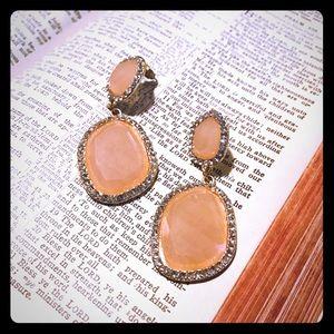 Jewelry - Peach pink acrylic gold tone & rhinestone earrings